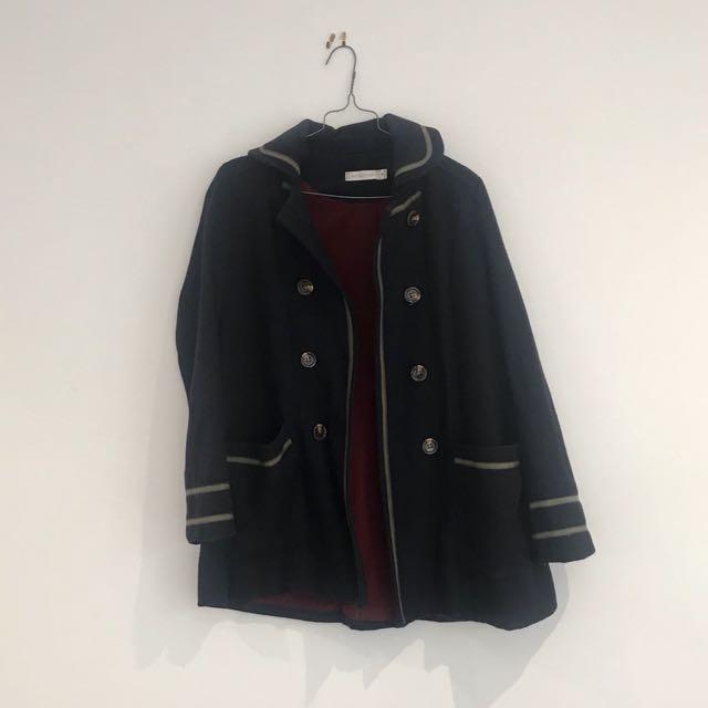 MINKPINK navy brown stripe coat jacket, XS size 6