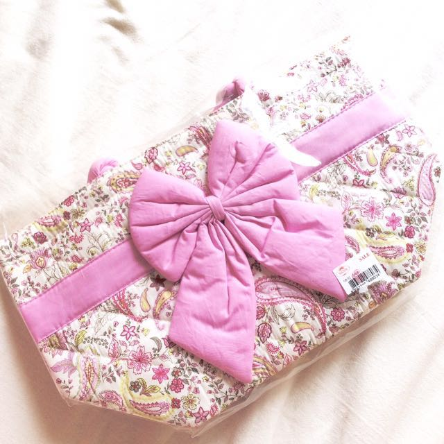 [NEW - Naraya] Quilted Fabric Bag with Pink Bow.
