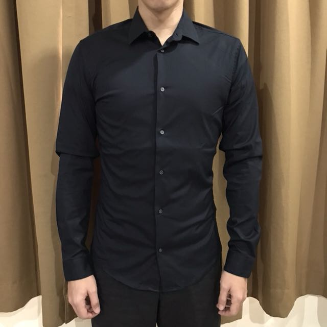 [NEW] H&M Kemeja Kantor Hitam (Premium Cotton Stretch)
