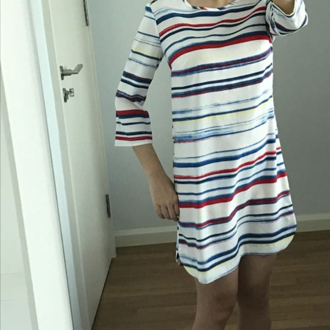 NEW! Mango MNG blue red white stripes Suit Dress