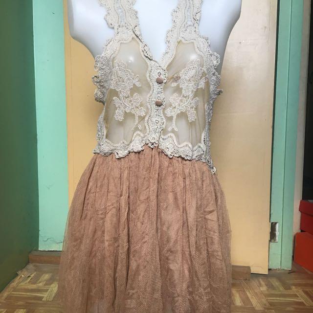 Nude lace dress