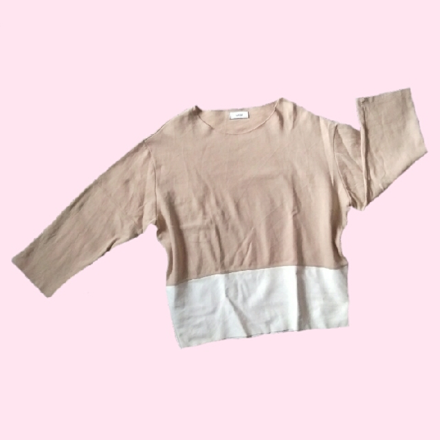 Nude Pullover With Leather Detail
