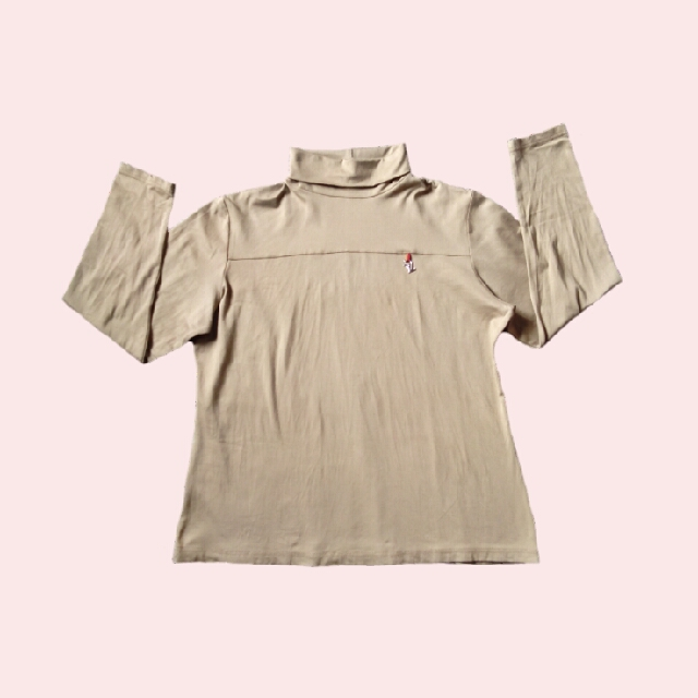 Nude Turtleneck Fitted Pullover