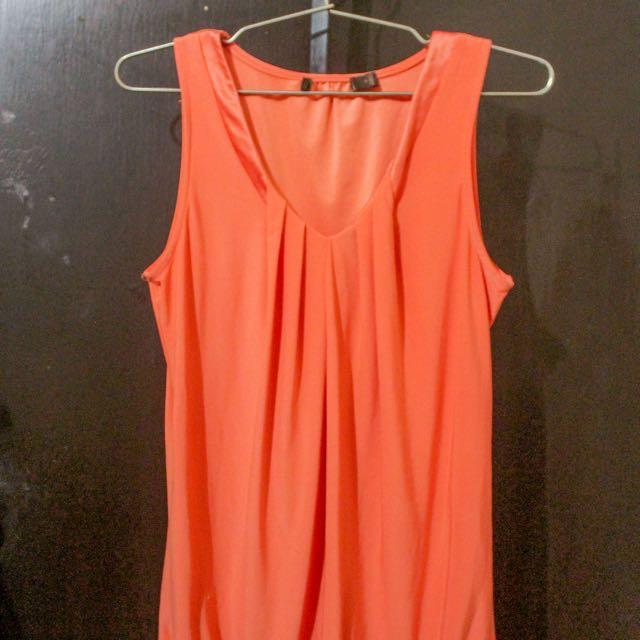 Orange Low-cut Sleeveless Top