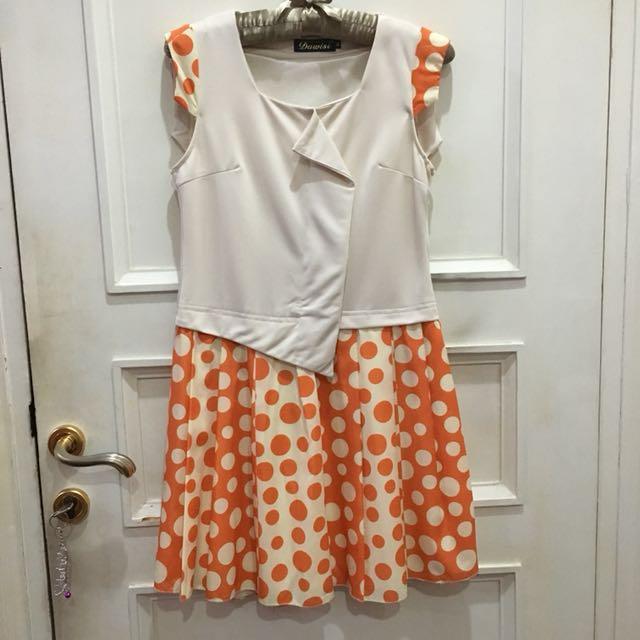 Orange Polkadot Cream Dress