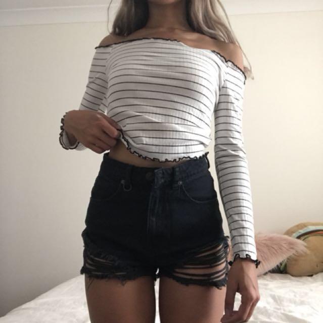 Over-the-shoulder striped top