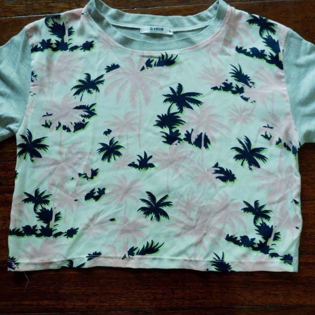 Palm Tree Gray Crop Top