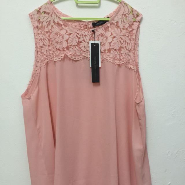 PLUS SIZE Sleeveless Pink Blouse 3XL