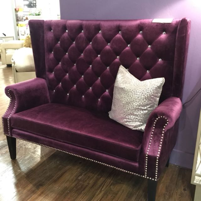 Purple Velvet Accent Chair Bench Loveseat Settee
