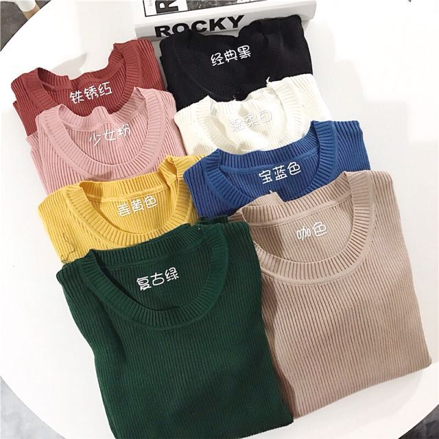 READYSTOCK Knitted Ribbed Long Sleeve Top