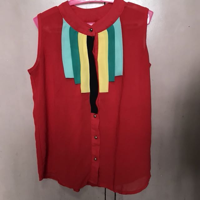 Red Sheer Top with metallic buttons and striped front