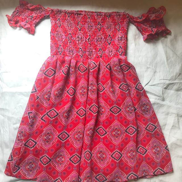 Red shirred off shoulder summer tea dress size 6