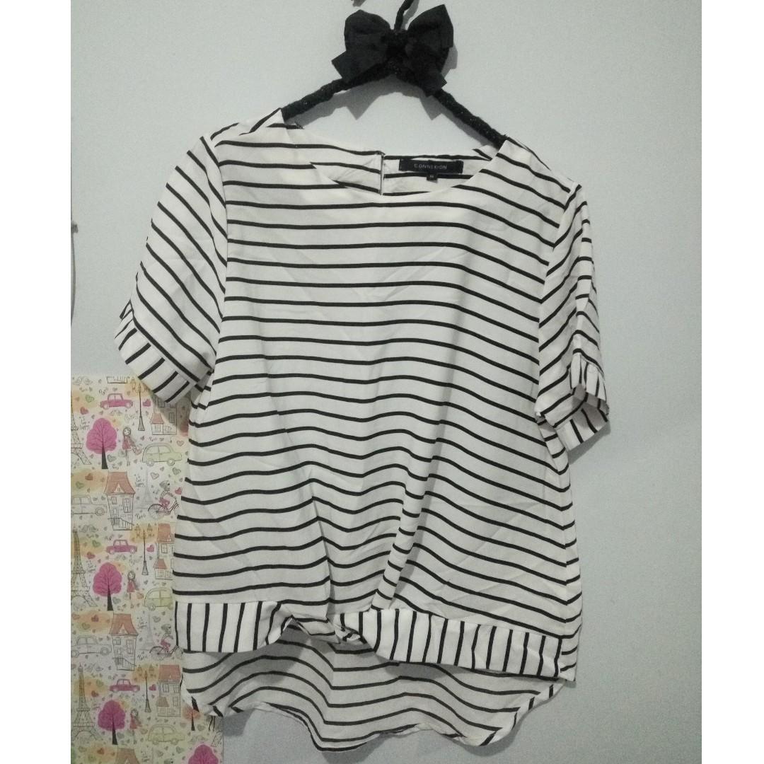 reprice atasan blouse baju garis stripe connexion