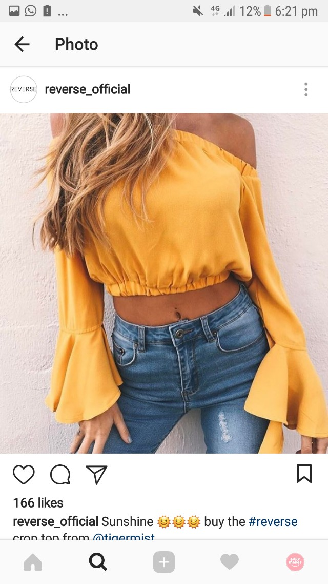 Reverse off the shoulder yellow crop