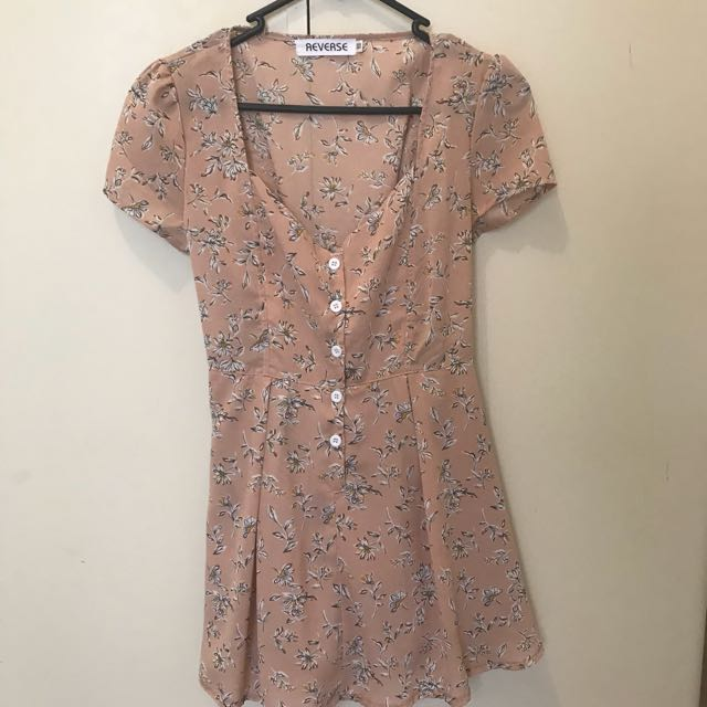 Reverse pink nude floral summer tea dress size 6