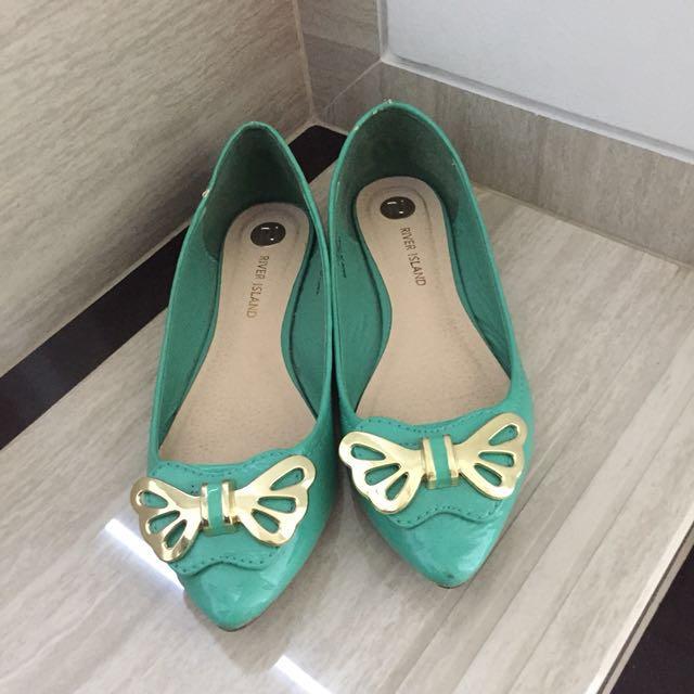 River island turqoise flat shoes