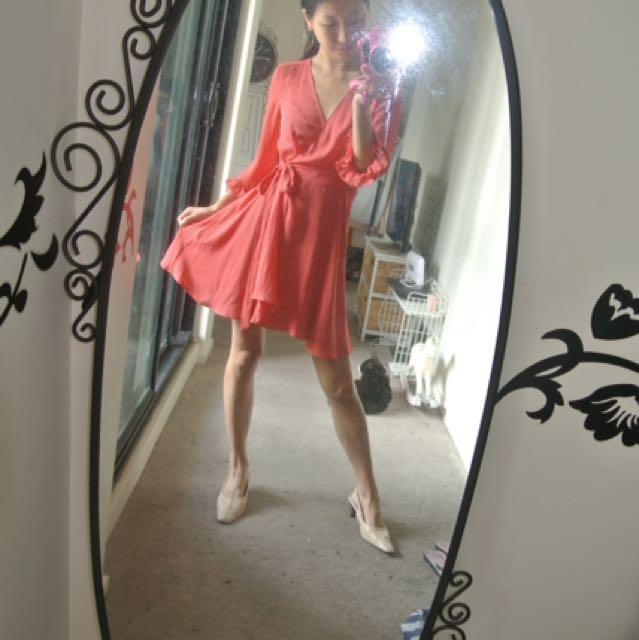 Rose red wrap dress