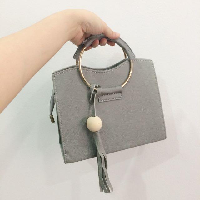 Round Ring Grey Handbag