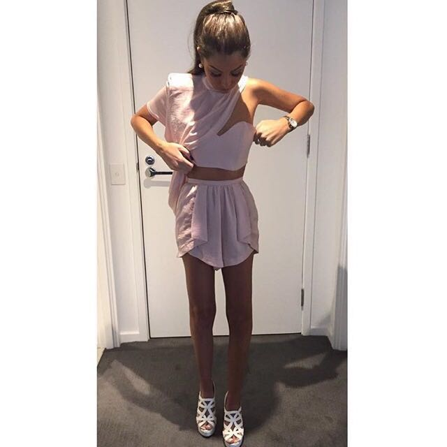 Sabo Skirt - High Waisted Shorts And Top Pink