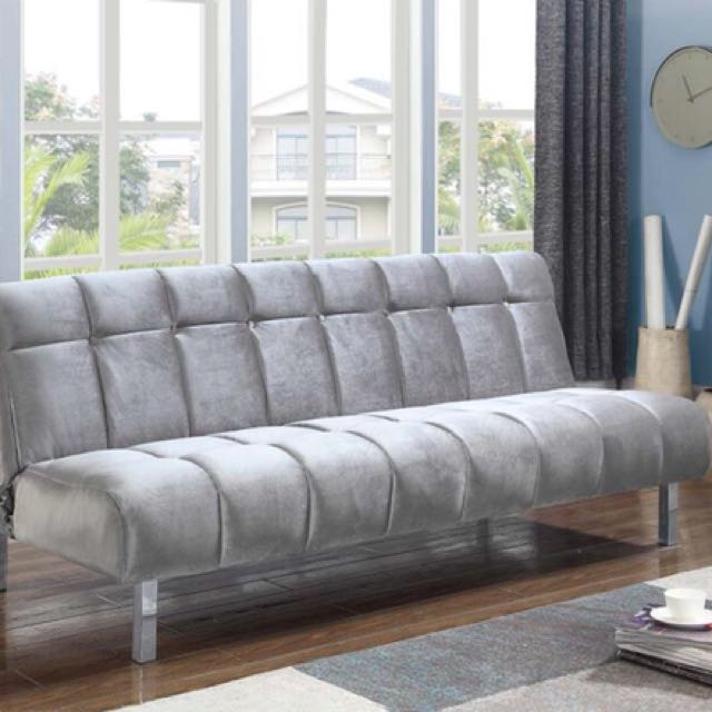 Silver Velvet Adjustable Sofa Bed Futon