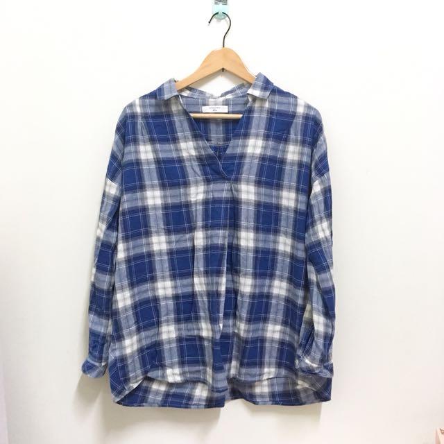 Sm2 Blue 深藍格紋襯衫 V領