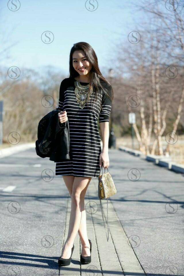 Stripe dress/shi