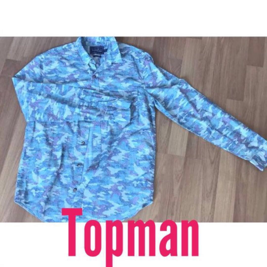 TOPMAN floral sleeve button shirt summer fall office casual