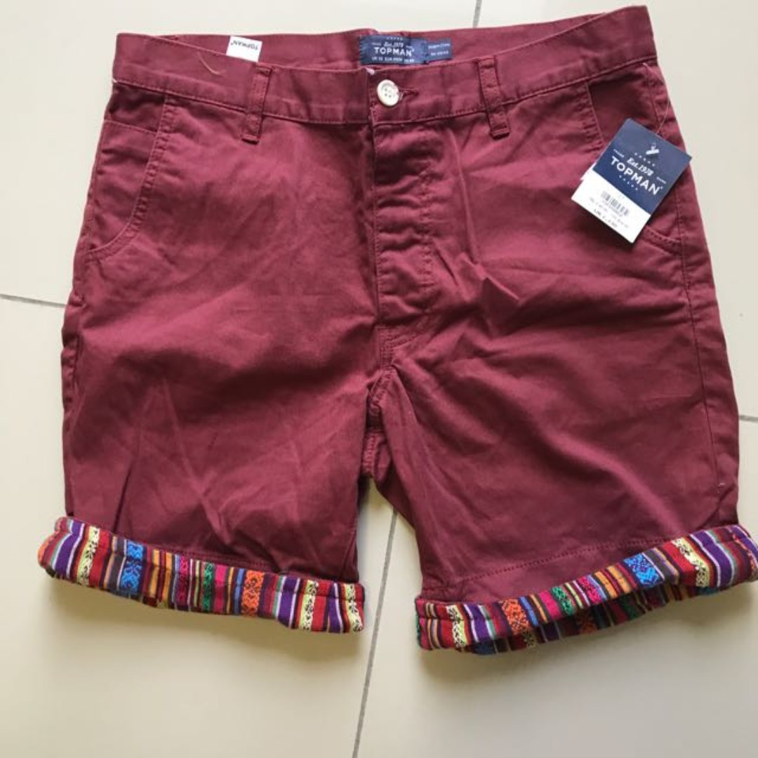 TOPMAN New with tag burgundy red short pants casual smart