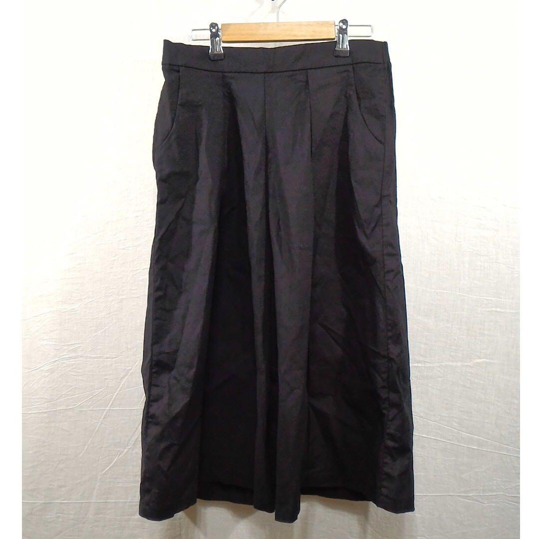 T-Parts黑色彈性透氣寬褲七八分褲