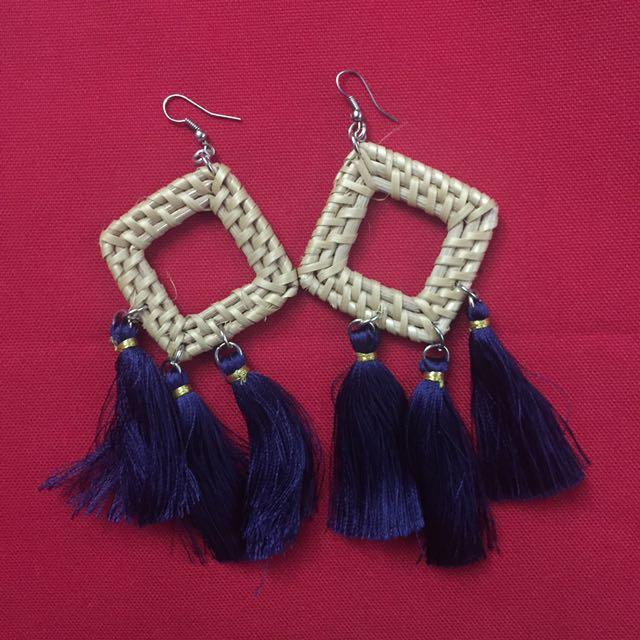 Tribal Tassel Hoop Earrings (Dangling Native Design)