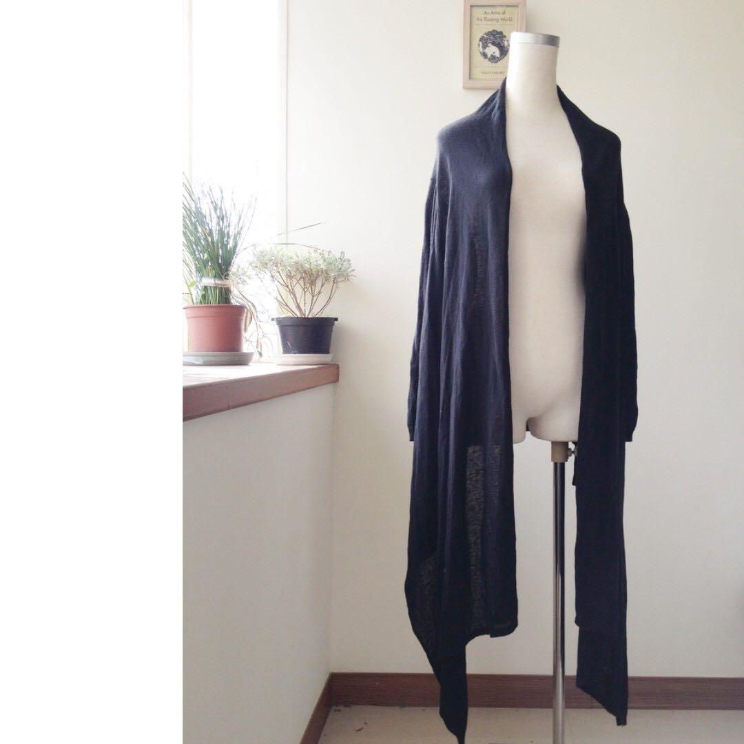 Uniqlo 高端系列細針織長版造型外套 黑色 #冬季衣櫃出清