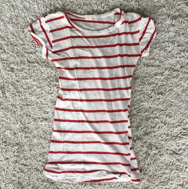White and Red Striped Women's Tshirt