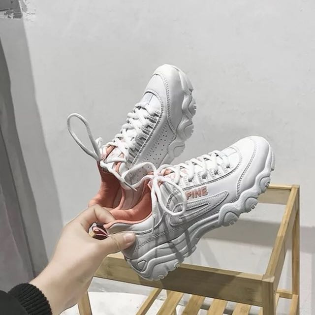 White Pink Fine Tumblr Sports School Shoes Womens Fashion Shoes