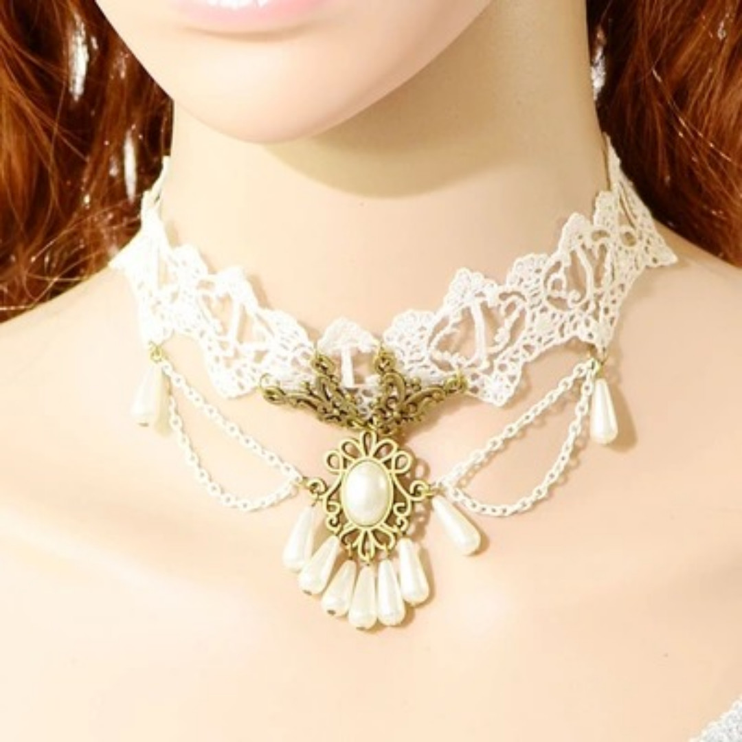 Women's fashion accessory lace crocheted knitted choker, white with brass-mounted pearl and teardrop pearls