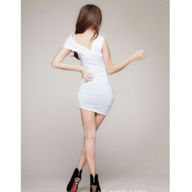 Women's party clubbing dancing sexy dress with t-back, colour: White, free size