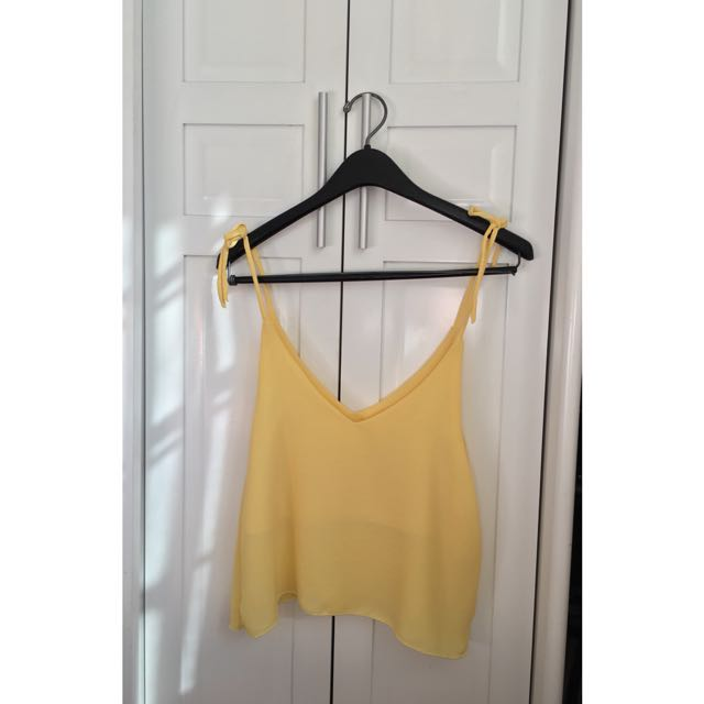 Yellow Tie-up Sleeveless Top