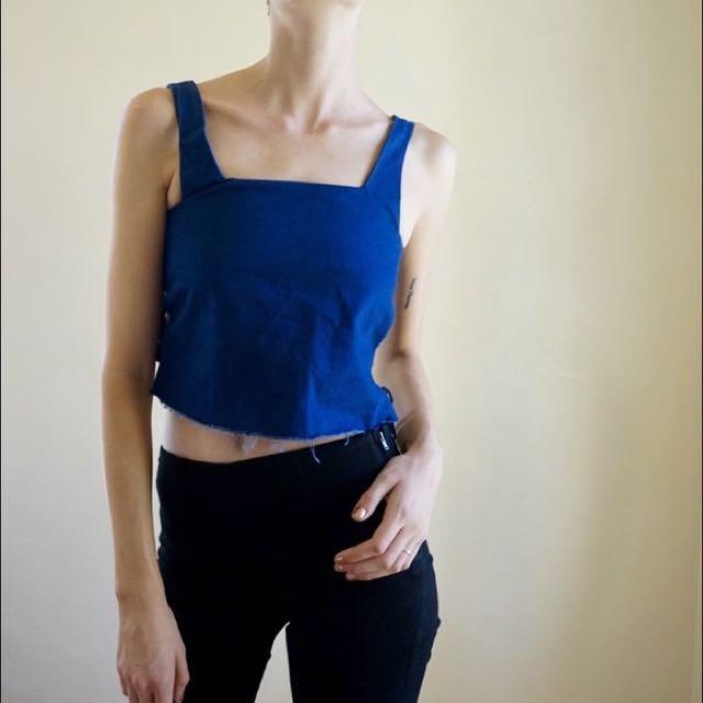 Zara Lace Sides Denim Blue Jeans Crop Top