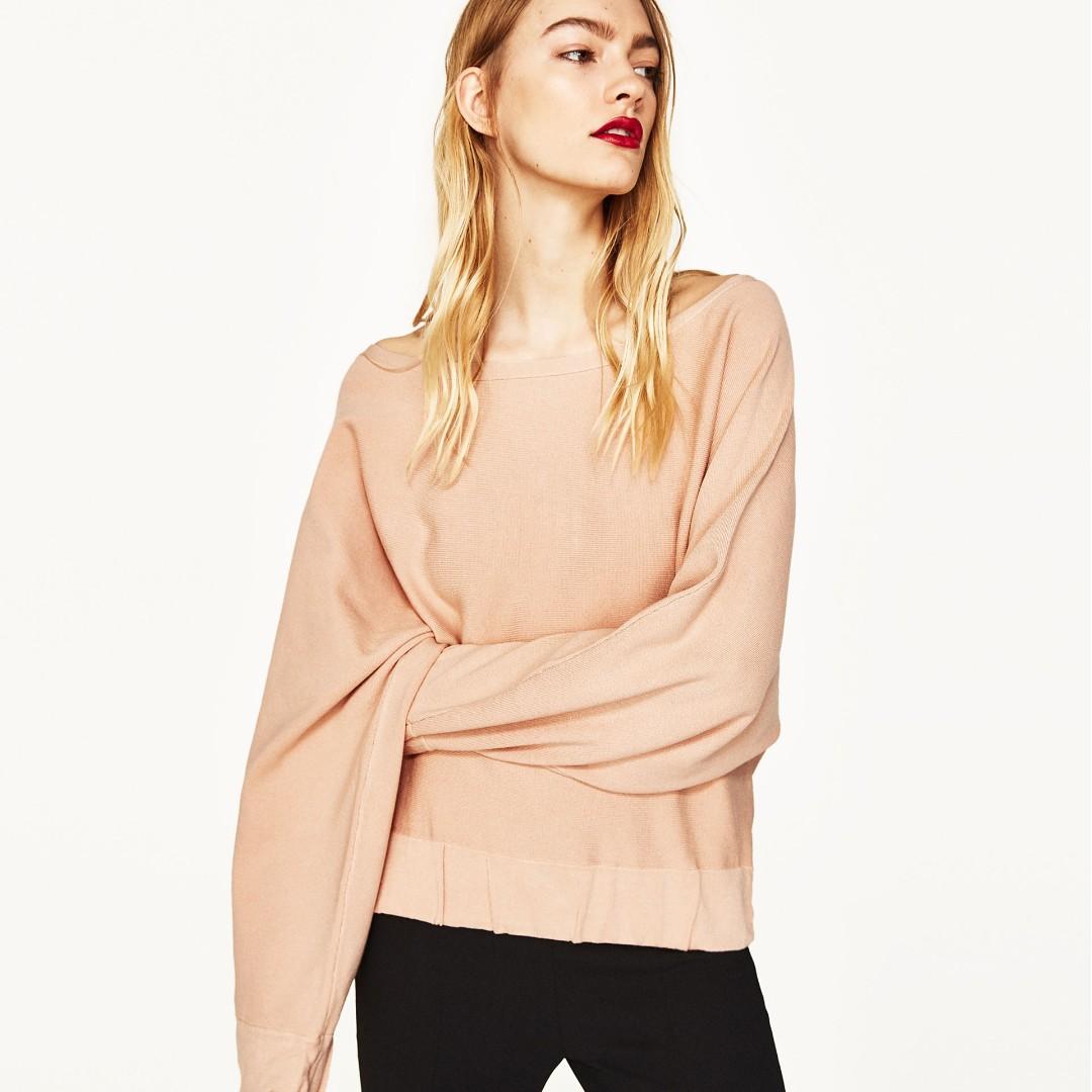 Zara Pink Wide-Sleeve Sweater