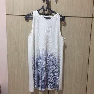 Zara White blue dress