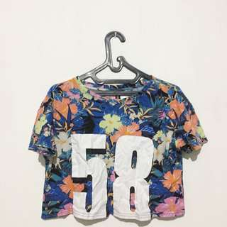 hnm crop tee tropical