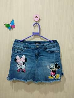 Celana rok jeans mickey