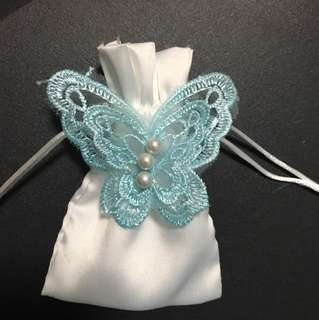 15pcs!! Satin drawstring Bags / pouch with blue lace butterfly attached ! 😍😍😍