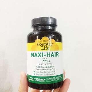 In Stock Country Life, Maxi Hair Plus, 120 Vegetarian Capsules