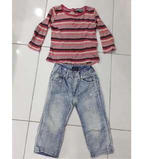 pumpkin patch top and faded jeans set