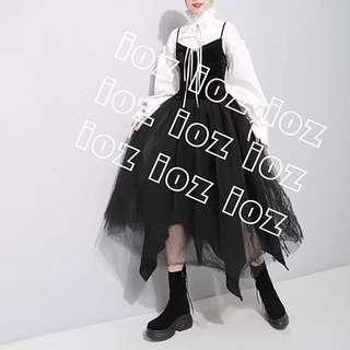 ioz 波蘭小眾設計 性感黑絲絨無袖蓬蓬裙洋裝