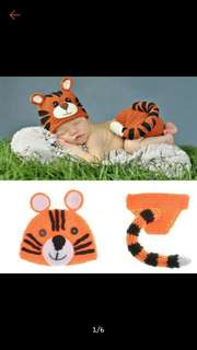 Baby crochet Tiger costume photography