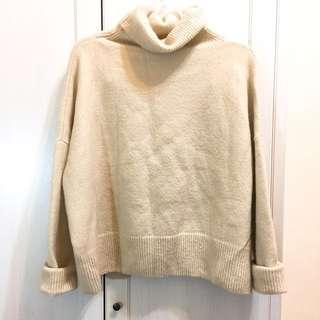 義大利製超保暖65%羊毛celine風米色毛衣