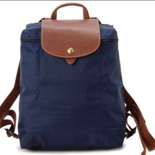 Authentic Longchamp Navy Backpack