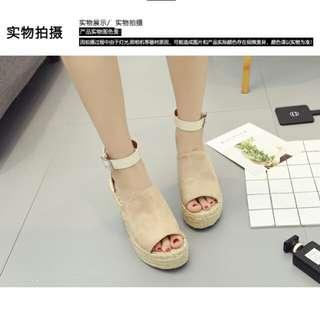 X-18289# 歐美厚底草編麻繩漁夫羅馬涼鞋