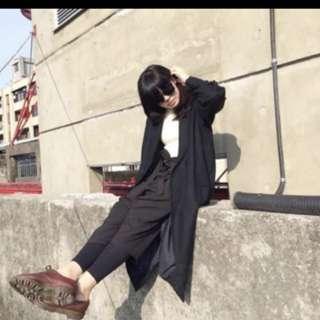 🚚 長版 個性 大衣 黑色 大衣 保暖 不會刺刺 舒服 羊毛 肩寬平量40